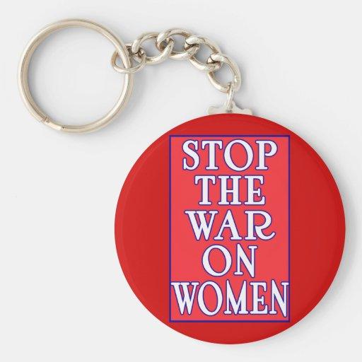 Pare la guerra en mujeres llavero redondo tipo pin
