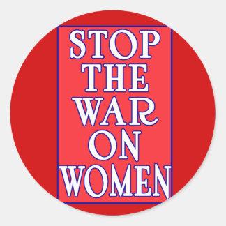 Pare la guerra en mujeres pegatina redonda