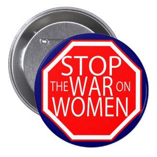 Pare la guerra en mujeres pin redondo de 3 pulgadas