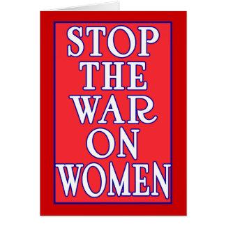 Pare la guerra en mujeres tarjeta de felicitación