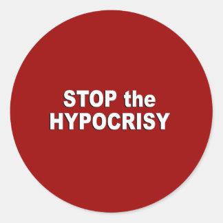 Pare la hipocresía pegatina redonda