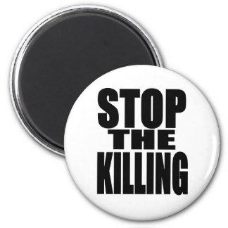 Pare la matanza - proteste ruidoso y orgulloso imán redondo 5 cm