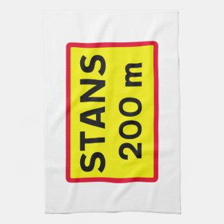 Pare la muestra a continuación, señal de tráfico, toalla de mano
