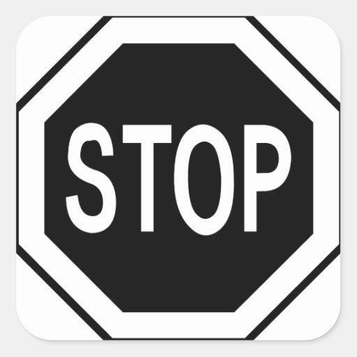 Pare la muestra del símbolo - negro en blanco pegatina cuadrada