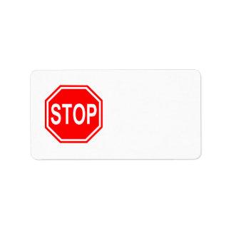 PARE la muestra roja de la parada del icono de la Etiquetas De Dirección