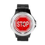 PARE la muestra roja de la parada del icono de la Relojes De Mano