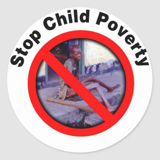 Pare la pobreza del niño etiquetas redondas
