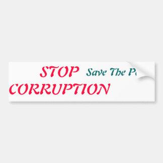 pare la reserva de la corrupción los pobres pegatina para auto