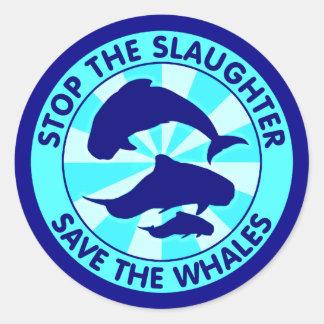 Pare la reserva de la matanza las ballenas pegatina redonda