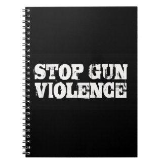 Pare la violencia armada libros de apuntes con espiral