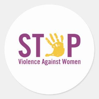Pare la violencia contra mujeres pegatina redonda