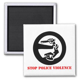 Pare la violencia de la policía imán cuadrado
