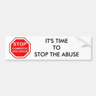 Pare la violencia en el hogar pegatina de parachoque