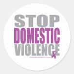 Pare la violencia en el hogar etiqueta redonda