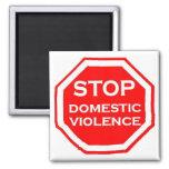 Pare la violencia en el hogar imán cuadrado