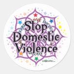 Pare la violencia en el hogar Lotus Pegatina Redonda