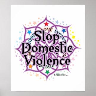 Pare la violencia en el hogar Lotus Póster