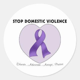 Pare la violencia en el hogar pegatina redonda