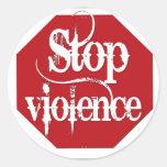 Pare la violencia etiqueta redonda