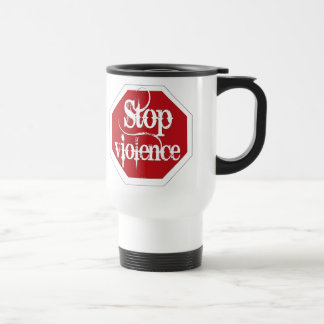 Pare la violencia taza de viaje de acero inoxidable