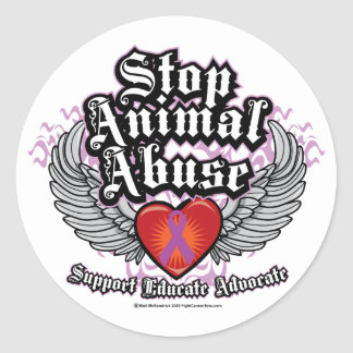 Pare las alas animales del abuso etiqueta redonda