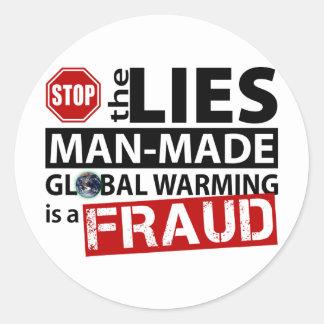 Pare las mentiras sobre el calentamiento del pegatina redonda