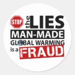 Pare las mentiras sobre el calentamiento del plane pegatinas redondas