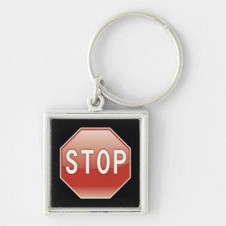 Pare las señales de tráfico del | llavero cuadrado plateado