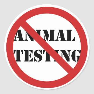 pare los ensayos con animales pegatina redonda