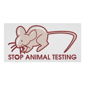 Pare los ensayos con animales póster