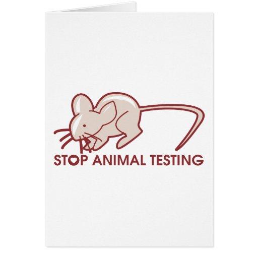 Pare los ensayos con animales tarjeta de felicitación
