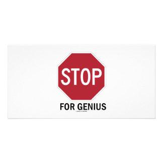 Pare para el genio (la muestra de la parada) tarjetas fotográficas
