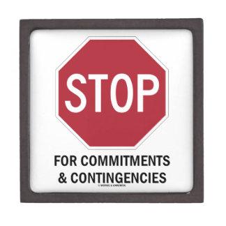 Pare para los compromisos y las contingencias la cajas de recuerdo de calidad