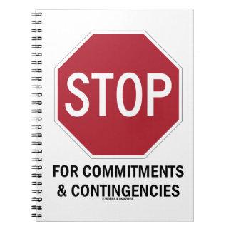 Pare para los compromisos y las contingencias la cuaderno