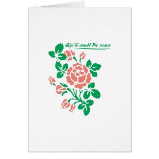 Pare para oler los rosas tarjeta de felicitación