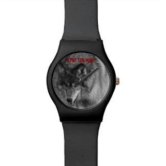 """PARE reloj salvaje del lobo de la CAZA"""