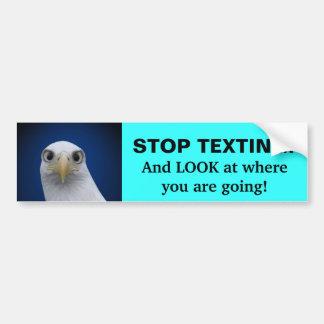 ¡Pare Texting! Retrato de Eagle Pegatina De Parachoque