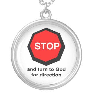 Pare y dé vuelta a dios para el cristiano de la di colgante redondo