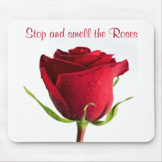 Pare y huela el rosa rojo Mousepad de los rosas