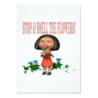 """Pare y huela las flores invitación 5"""" x 7"""""""