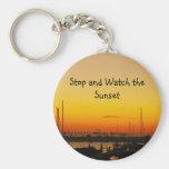Pare y mire la puesta del sol llavero personalizado
