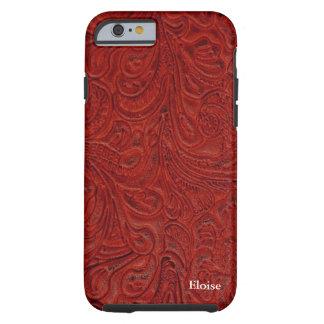 Parece el cuero equipado rojo personalizado funda de iPhone 6 tough