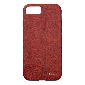 Parece el cuero equipado rojo personalizado funda iPhone 7