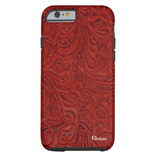 Parece el cuero equipado rojo personalizado funda resistente iPhone 6