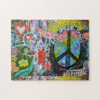 Pared al revés viva del signo de la paz puzzle