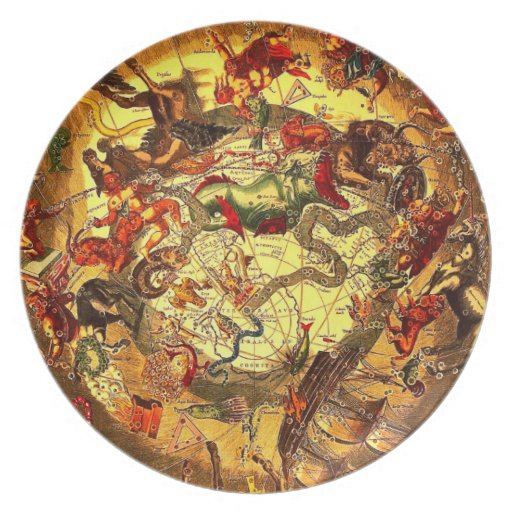 Pared antigua del vintage del arte del mapa de la  platos