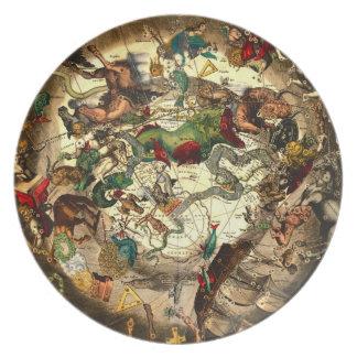 Pared antigua del vintage del arte del mapa del ho platos para fiestas