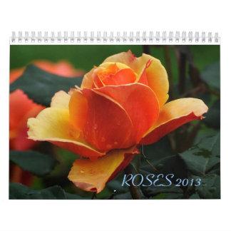Pared Callendar de los ROSAS 2013 Calendario De Pared