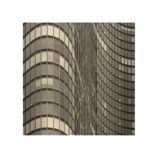 Pared de cortina de acero y de cristal de moderno impresión en madera