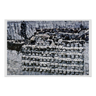 Pared de cráneos en alcalde de Templo, Ciudad de M Poster